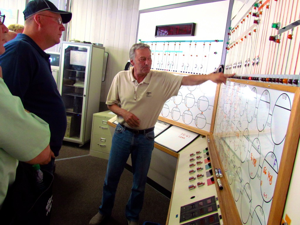 The group toured the control room at TEMCO, where they had the opportunity to see the technology the facility uses, as well where their current grain is sourced from.