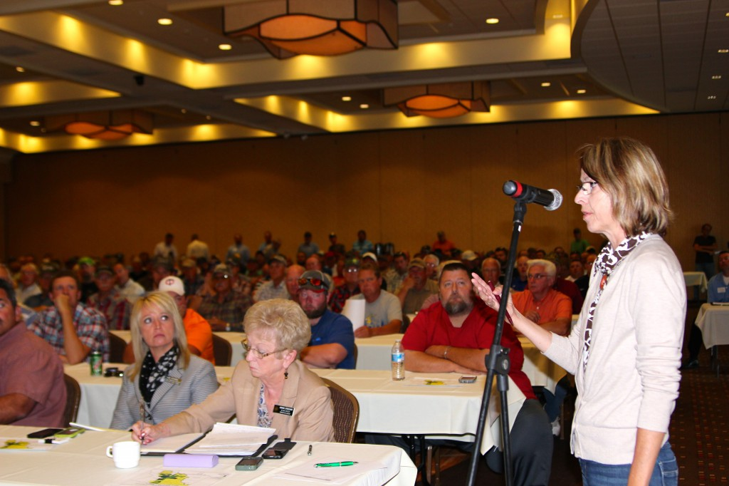 Karen Cameron-Howell, a private wetland consultant and former NRCS employee, asks questions about the wetland backlog to the panel.